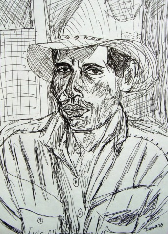 BELIZEAN COWBOY     2003 ,   local cowboy at the Riverside Bar & Disco in Bullet Tree Falls, Belize, Central America. In 2003 I lived in the jungle of Belize with howler monkeys and took over this bar and disco on the Mopan River.  Sometimes during the day locals would come and I would draw their portraits.  I drew two portraits that day of the Cowboy and I gave him the other one.   ARTIST'S COLLECTION    Pen on paper