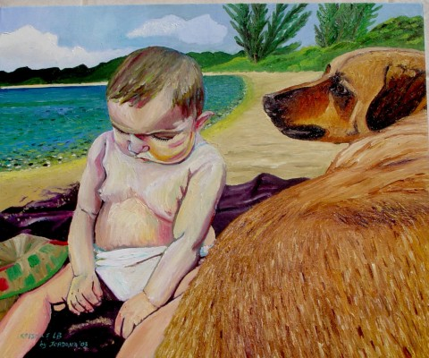 KELSEA & L.B.    2003 ,  My neighbors on Thomson Cove Beach, Providenciales, Turks and Caicos.   SOLD    Oil on canvas