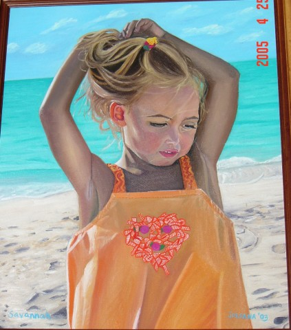 SAVANNAH    2003 ,  local girl on Grace Bay Beach, Providenciales, Turks and Caicos.  SOLD    Oil on canvas