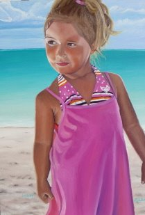 LINDSAY 2008,  local girl on Grace Bay Beach, sister of Savannah; Providenciales, Turks and Caicos.  SOLD    Oil on canvas