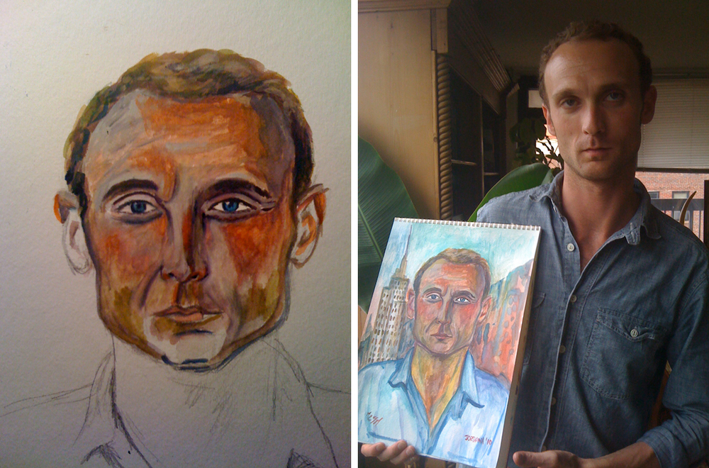 MASSIMILIANO  2010,   Italian Sommelier in NYC (Before he was my husband).  GIFT TO MASSIMILIANO'S FAMILY    Watercolor on paper
