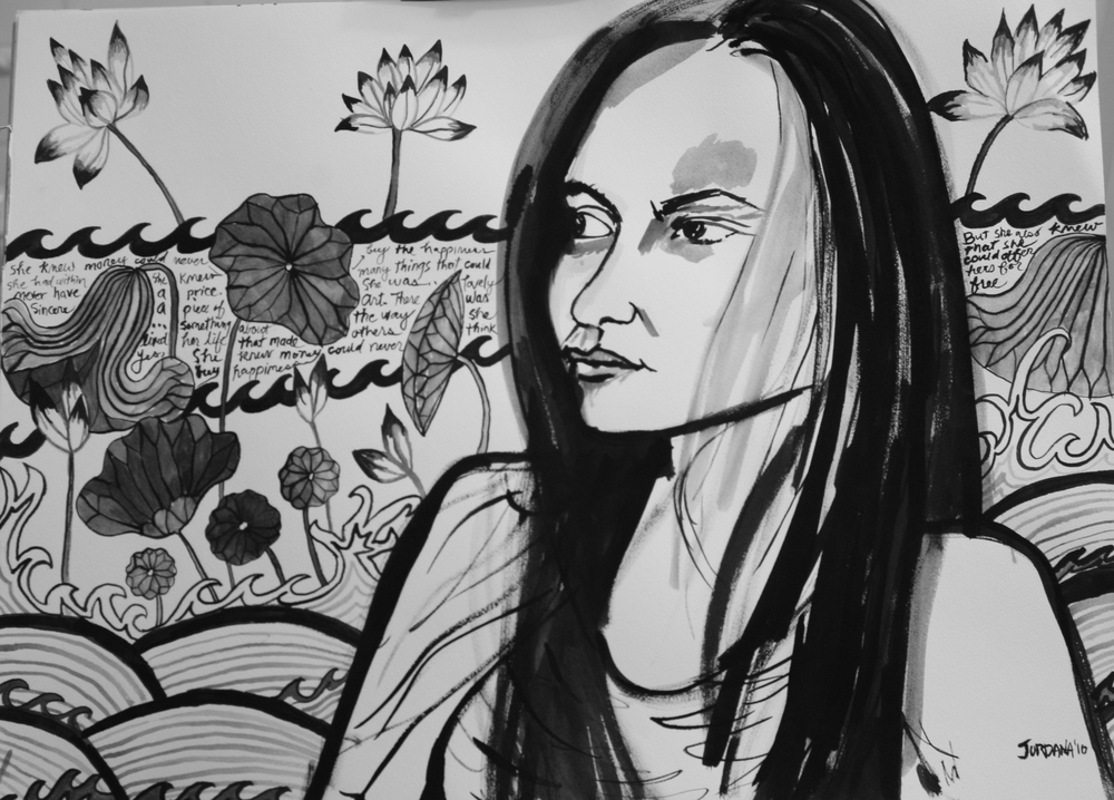 GABRIELA  2010,   with Chinese textile background and prose, NYC.  GIFT TO GABRIELA    Black ink on paper