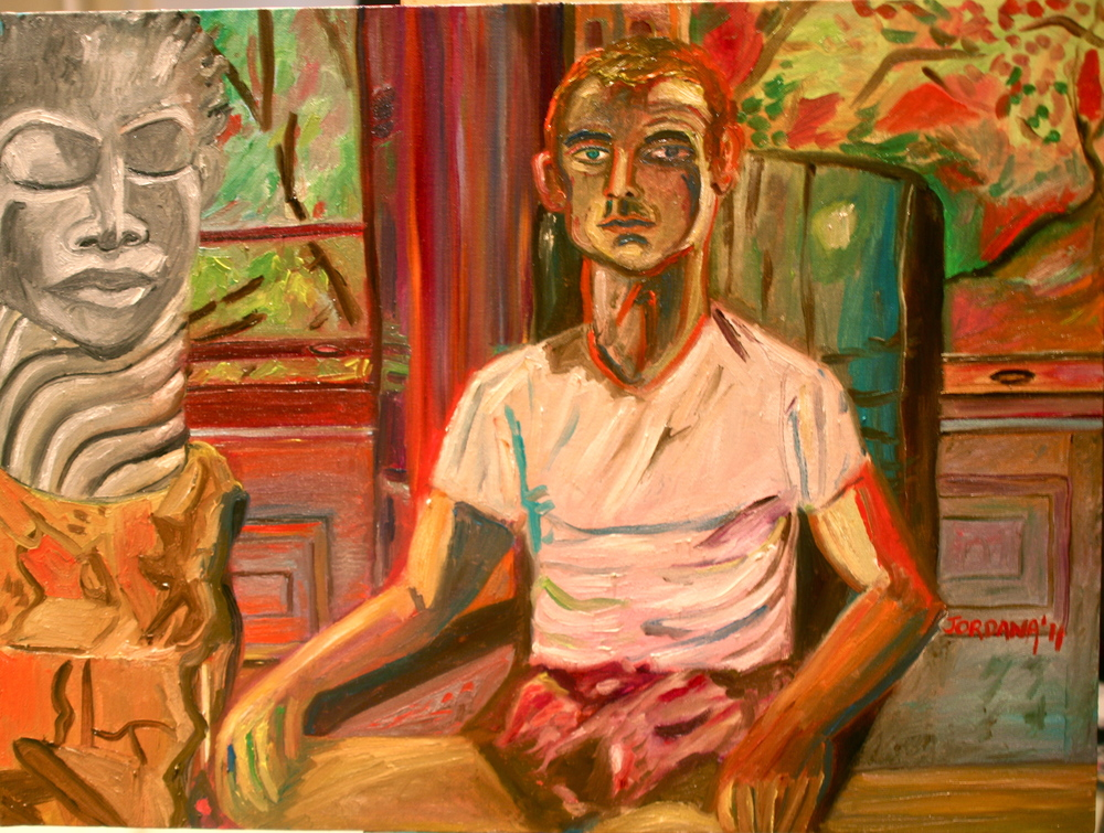 MASSIMILIANO WITH  GENE PEARSON  SCULPTURE  2011,    morning in a Brooklyn Brownstone across the street from Prospect Park, NYC.  ARTIST'S COLLECTION    Oil on Canvas