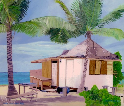 CONCH STAND  2003,   inspired by my brother's photograph of the local conch stand on Blue Hill's beach.  GIFT TO COMFORT SUITES IN PROVIDENCIALES    Oil on Canvas