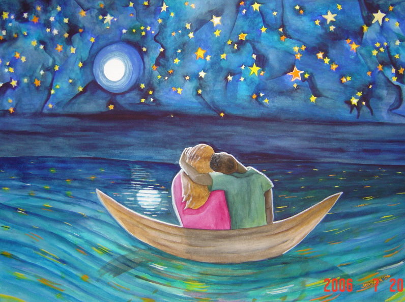NIGHT RIDE  2006,   Drifting in a dream in the middle of the Caribbean Sea off Ambergris Caye, Belize, Central America.  ARTIST'S COLLECTION    Watercolor on paper