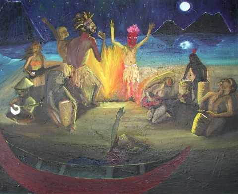 MIDNIGHT REVEALERS  1999  , my lifestyle inflated through vision, dream, and hope, surrounded by the volcanoes that touched my soul in Lake Atitlan, Guatemala, Central America.  Painted in Oakland, California.  ARTIST'S COLLECTION  (My first oil painting).   Oil on canvas