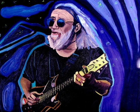 JERRY GARCIA  2001  , the Grateful Dead was more than a musical icon, but a band that changed the breath of many in the United States.  My first concert was in Highgate Vermont 1995 with Bob Dylan opening and an estimated 100,000 people.  I was sixteen and in heaven.   SOLD     Oil on canvas