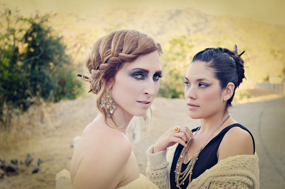 Lauren Boyette and Karen Maiko in their hairsticks.  Hair by Rachael Beauty, makeup by Melissa Hibbert.