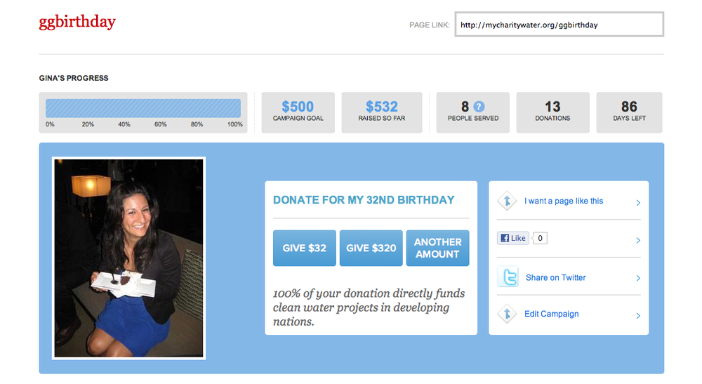 :: charity: water birthday campaign ::
