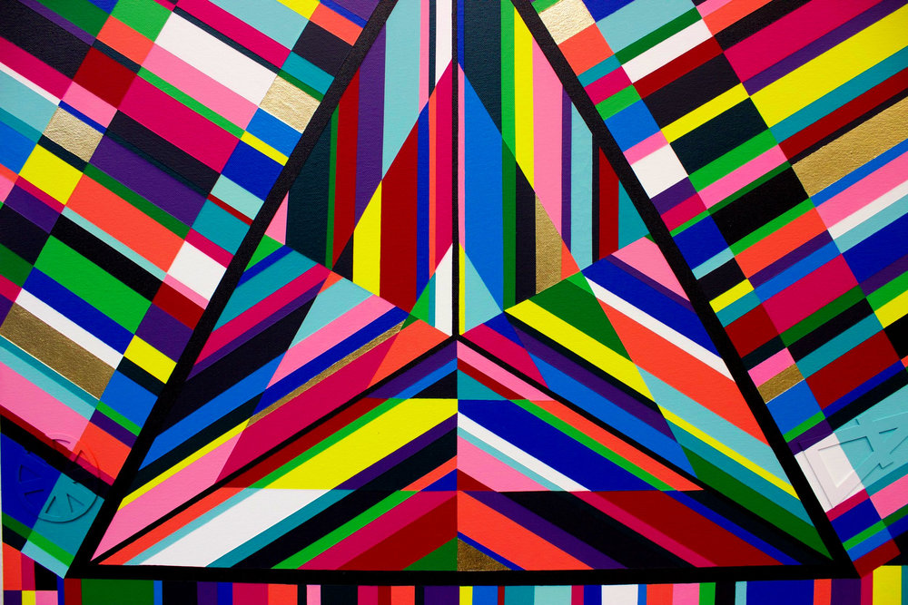 Platonic Solid Series- Acrylic on canvas, 30x30'' (1 of 5)