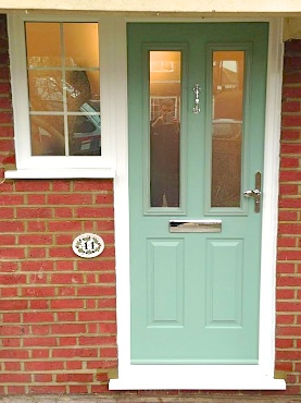 A pastel green composite door recently fitted by our team.