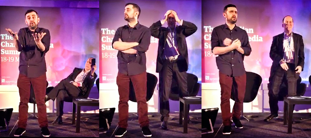 Frames from my Meerkat stream of  Meerkat Founder  Gary Vaynerchuk and Rory Cellan-Jones at the Guardian Changing Media Summit.
