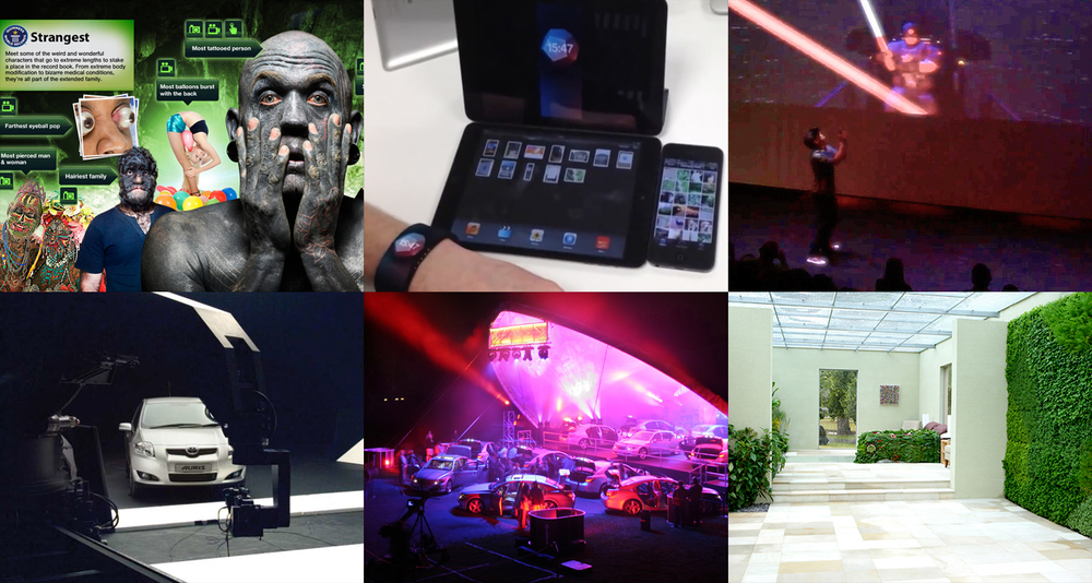 Top L-R: Guinness World Records: At Your Fingertips, Early Apple Watch connected concept, Oculus Rift Light Saber battle. Bottom L-R: Toyota Auris 3D filming, Lexus Symphony Orchestra, Holiday Inn Green Room.