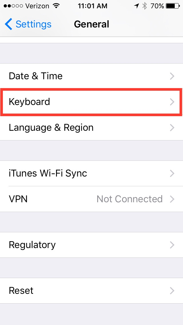 iOS General settings screen, with Keyboard menu highlighted