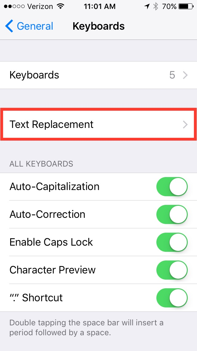 iOS Keyboards settings screen, with Text Replacement menu highlighted