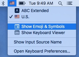 The Input Sources dropdown menu in the menu bar.