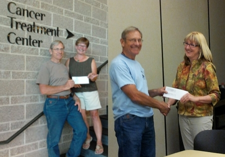 Check Presentation to Al Huntley.  With Ann Richardson, Executive Director SOQS (left) and Myrna Dow, SOQS Board Member (right)