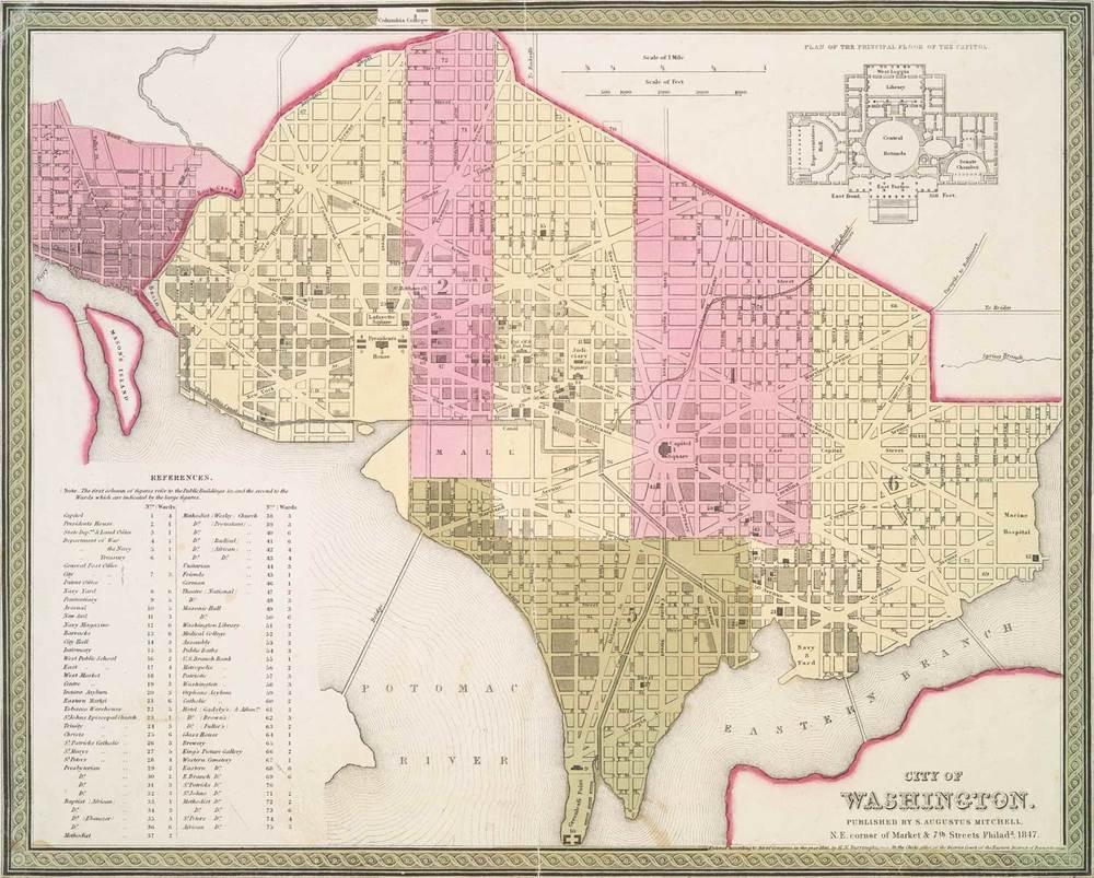 Fresh News Washington DC Historic Map Suitable For Framing - Us map 1847