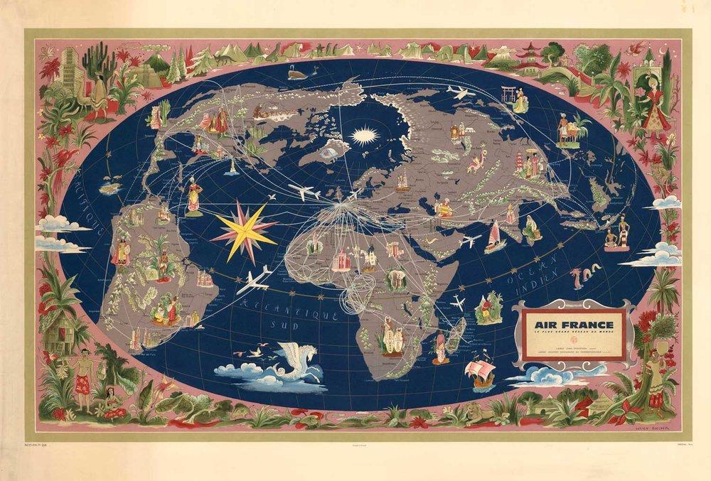 Vintage World Map Air France AF1 High Desert Frameworks