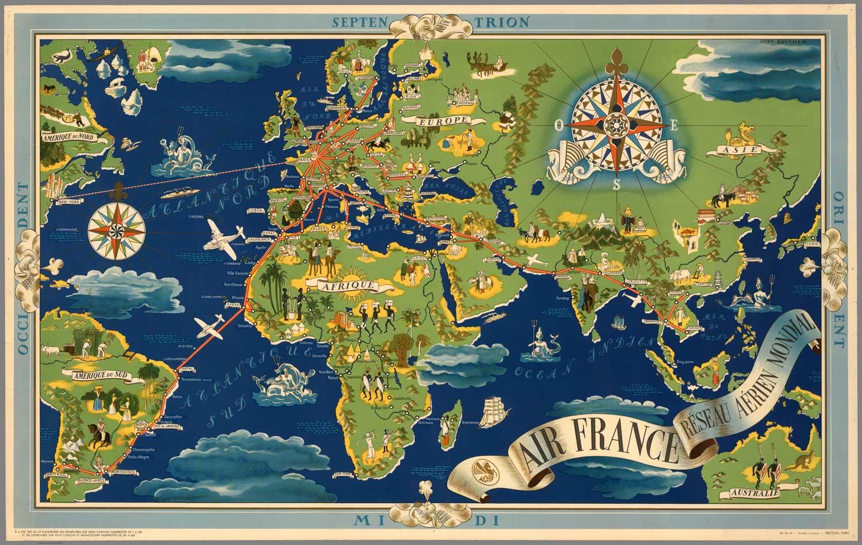 Vintage World Map Air France Af3 High Desert Frameworks