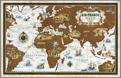 Vintage world map air france af5 high desert frameworks vintage world map air france af5 gumiabroncs