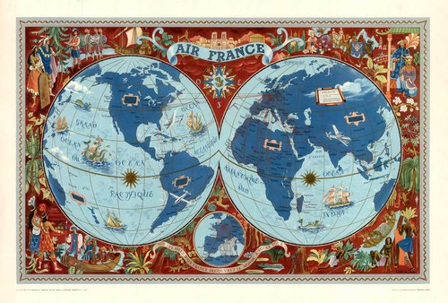 Vintage world map air france af7 high desert frameworks vintage world map air france af7 gumiabroncs