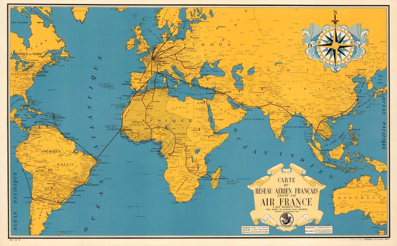 Vintage World Map Air France Af8 High Desert Frameworks