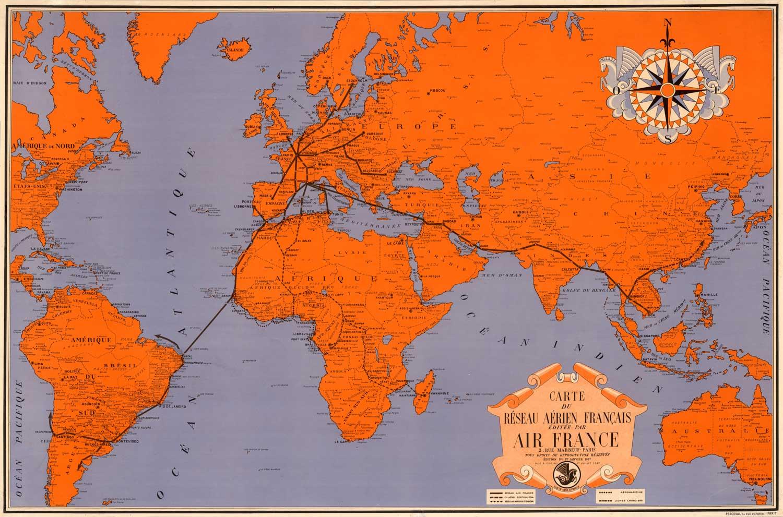 Vintage World Map Air France Af9 High Desert Frameworks