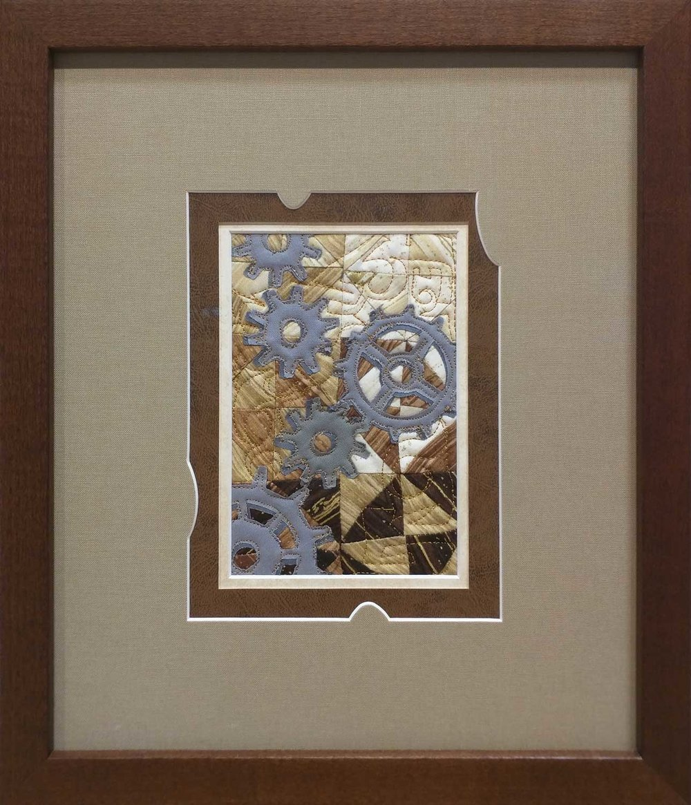 Rob Appell ( Man Sewing ) - 2017 Wish Upon A Card Fabric Post Card donation.  Custom Framing by High Desert Frameworks.