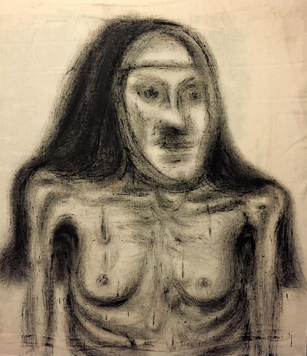 "Sister Angelia,      Latex on raw canvas drop cloth, 54""X54"""