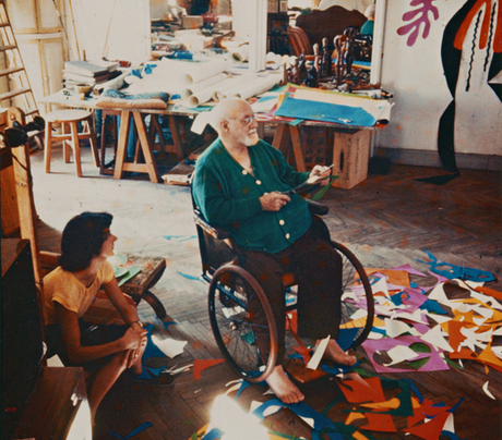 Henri Matisse in his studio at the Hotel Regina, Nice