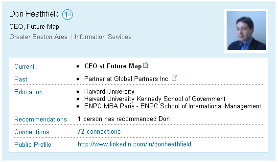 LinkedIn.com profile of Donald Howard Heathfield, clear name: Andrey Bezrukov or Андрей Безруков.