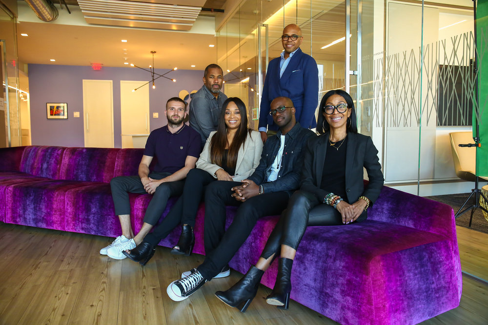 Quincy Ledbetter with the Project CRE8 team (from left): Alexander Kocher, Jamal Noisette, Connie Orlando, Brickson Diamond, Quincy Ledbetter, and Robi Reed.   BET Networks