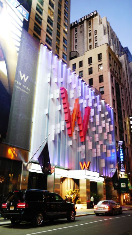 W Hotel, Times Square    New York, New York   M.Arch Architects founder March Chadwick working with Frank Williams participated in the design and construction administration of the building as well as coordination of the interior design with the Rockwell Group. The Hotel is organized with a reception lobby at grade with fast shuttle elevators that take Hotel guests up to the Fourth Floor Sky Lobby. The Sky Lobby has a Lobby, Lobby Lounge, Restaurant, Bar Area and the Hotel Reception Area.