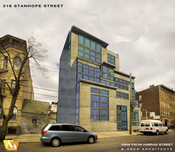 Stanhope Street    Brooklyn, New York   M.Arch Architects was hired to perform a feasibility study for one of Brooklyn's most popular districts. Home to young entrepreneurs, artists, and professionals, Stanhope Street is a thriving and energetic community.    M.Arch Architects provided schematic designs for the new building on 316 Stanhope Street saving construction costs by keeping parking above grade and matching the community proportions with a unique design that stands out.