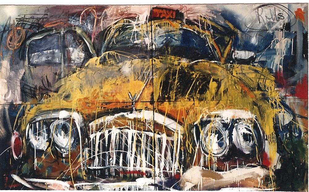 Rolls, 1999, 60 x 90 ins, acrylics, oils, enamels on canvas.