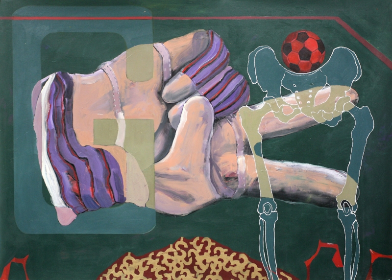Red Ball*, 2009, 72x100ins, Acrylics, Oils and Enamels on canvas. Av.