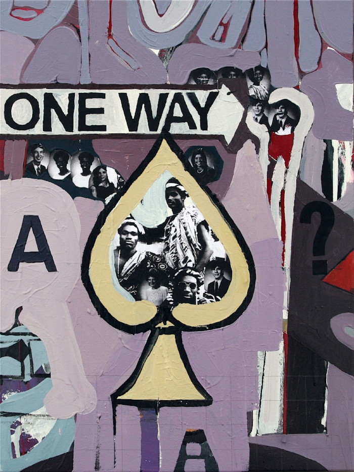 One Way, 2009, 24 x 18ins, acrylics, oils, enamels and collage on canvas.