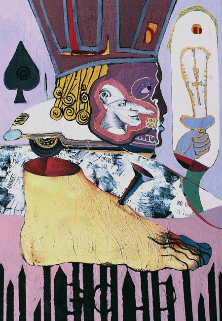 Commonwealth Jewels**, 2009, 33 x 23ins, acrylics, oils, enamels and collage on canvas.