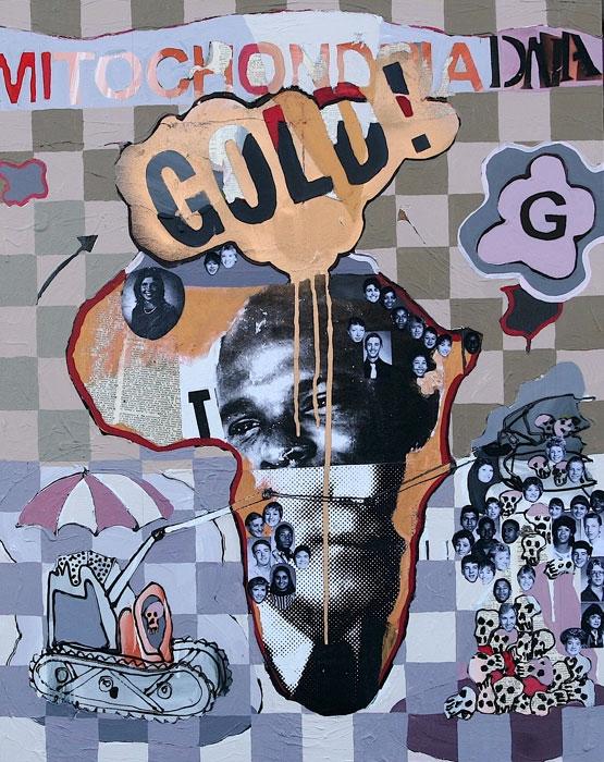Gold Drip**, 2010, 30 x 24 ins, acrylics, oils, enamels on canvas.