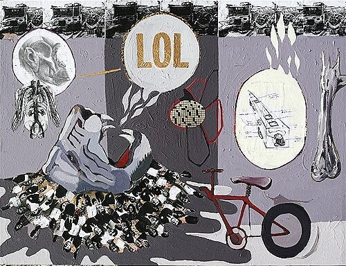 Blazing LOL**, 2009, 30 X 40ins, acrylics, oils, enamels, and collage on canvas	  .