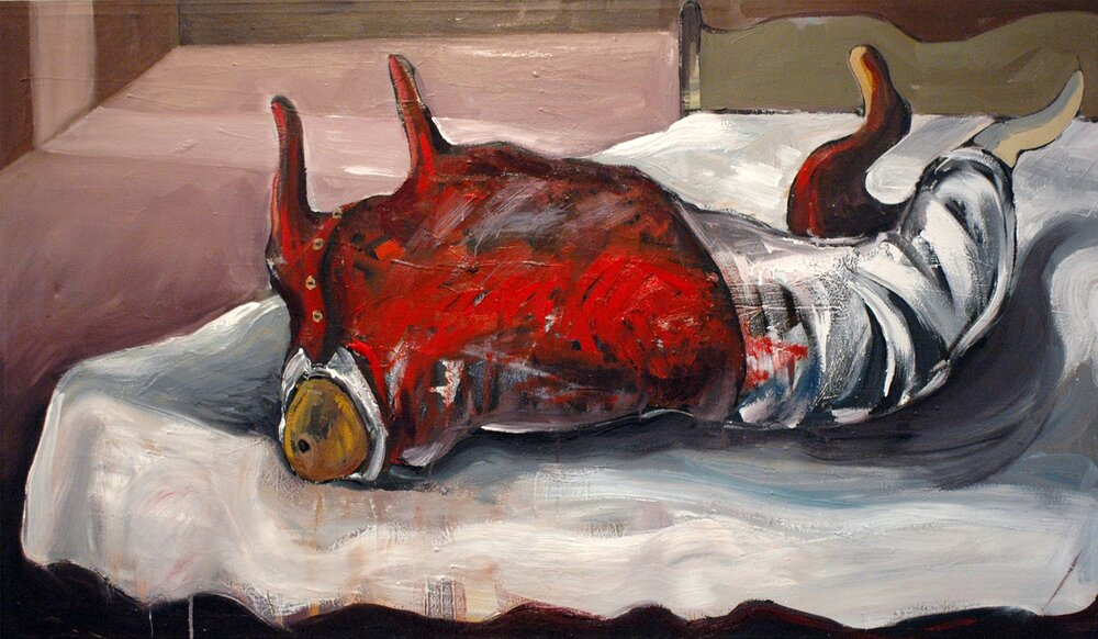 Mortality**, 2006, 38x65ins, , acrylics, oils, and enamels on canvas.