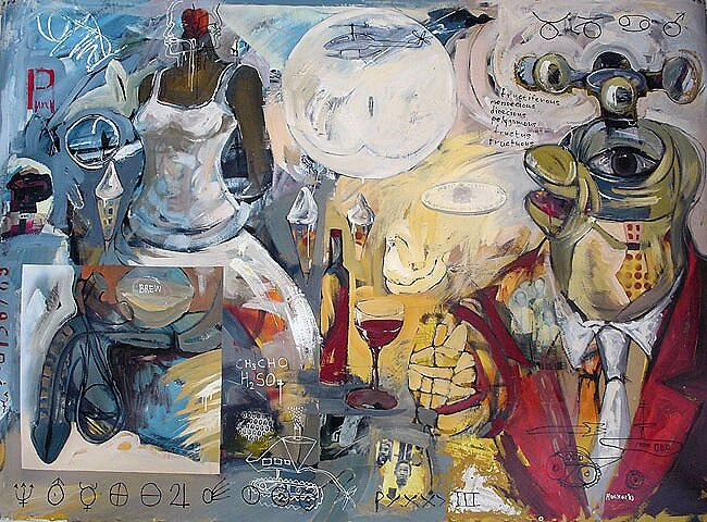 Fruition*, 2003, 72 x 100 ins, acrylics, oils, and enamels on canvas. Av.