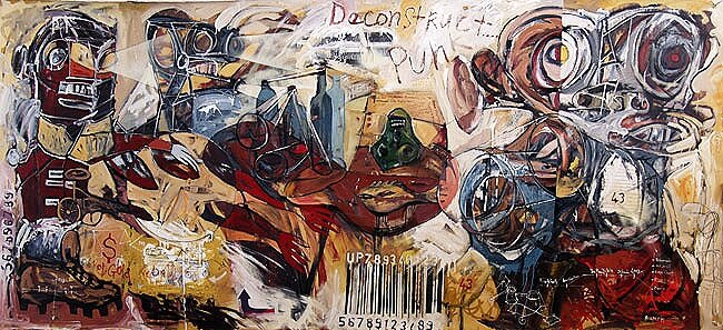 Redcoats, Stigmata, Barcode*, 2003, acrylics, oils, and enamels on canvas. Av.