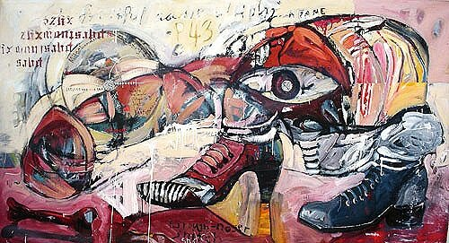 Procreation II*, 2003, 60 x 110 ins, acrylics, oils, and enamels on canvas. Av.