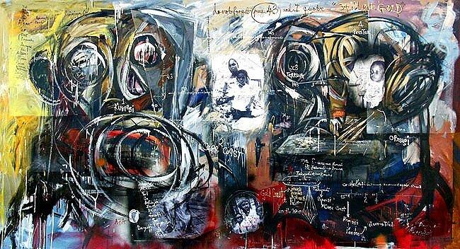 Genealogy*, 2001, 68 x 124 ins, acrylics, oils, and enamels on canvas. Av.