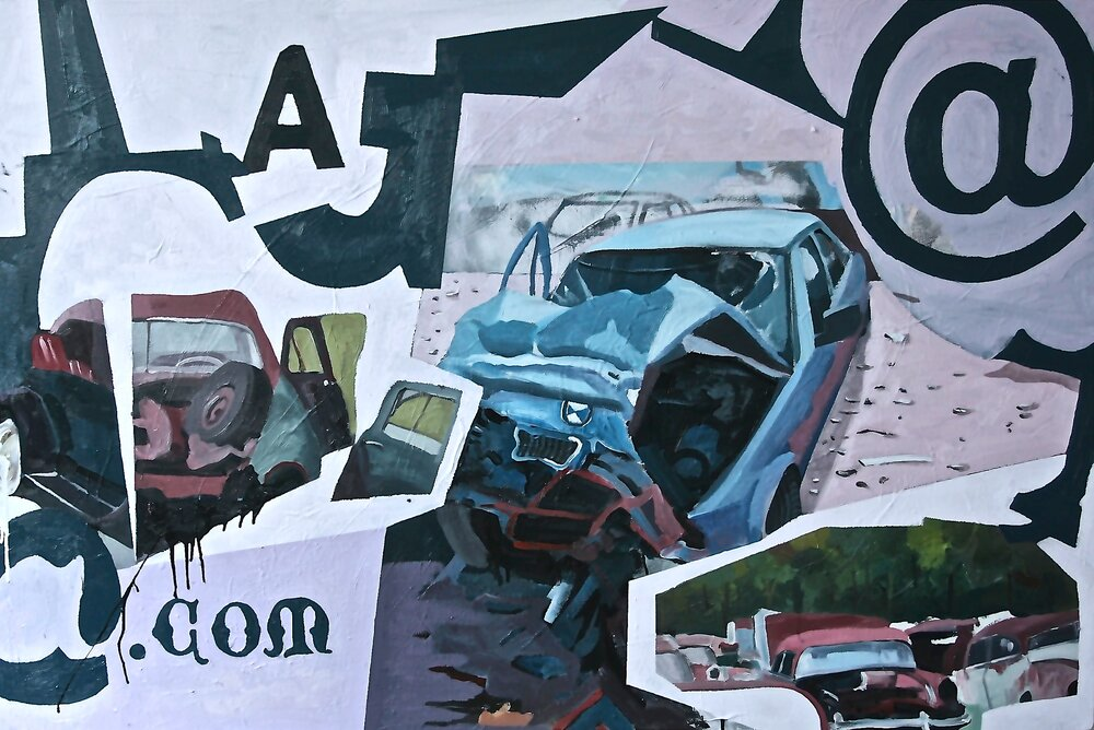 JunkYard.com*, 2013, 40x60, oil, enamel on canvas