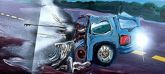 Blue Collision**, 2009, 30 x 66 ins, acrylics, oils, enamels on canvas.