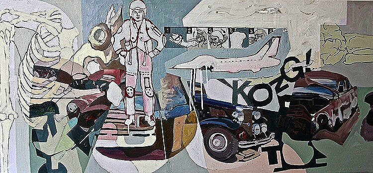 Kong*, 2013, 30x66ins, oil, enamels on canvas. Av.