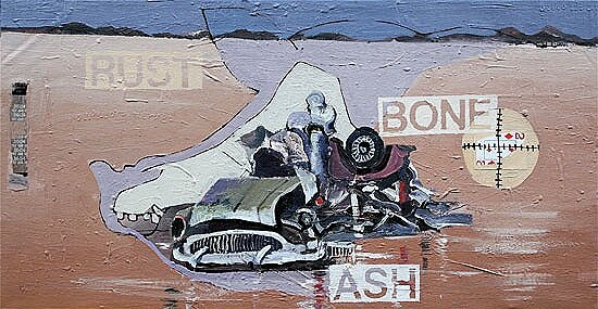 Rust, Bones & Ash**, 2010, 20 x 38 ins, acrylics, oils, enamels on canvas.